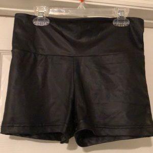 Faux leather black shorts size M